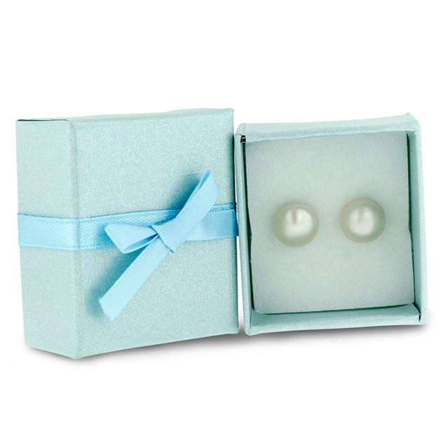 White Freshwater Cultured Pearl Button Earrings