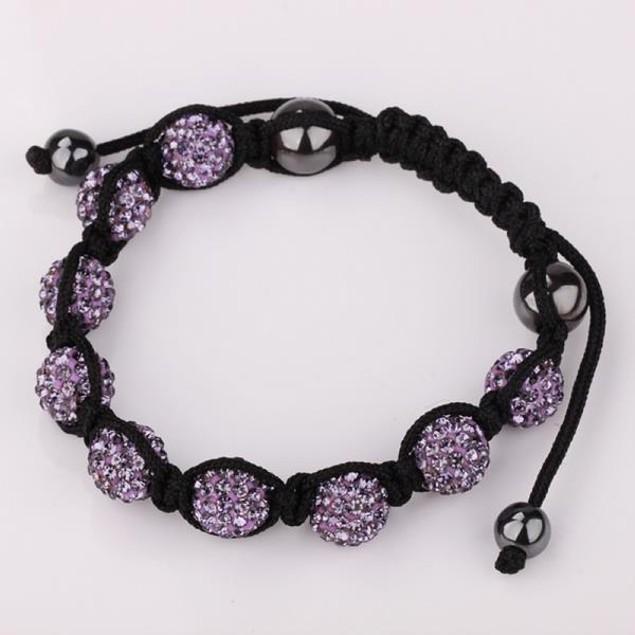 80's Glam Eight Beads Austrian Crystal Bracelet - Purple