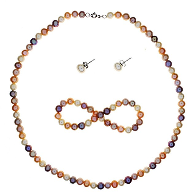 Genuine Multi Pink Freshwater Cultured Pearl Set