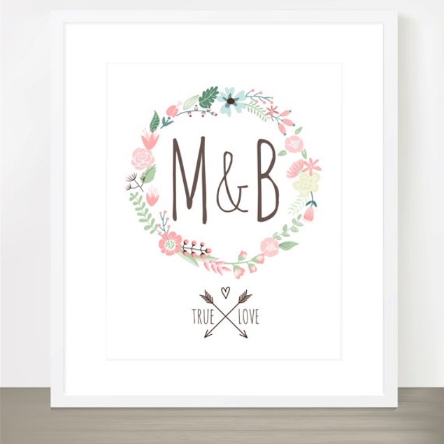 True Love Floral Wreath Personalized Print