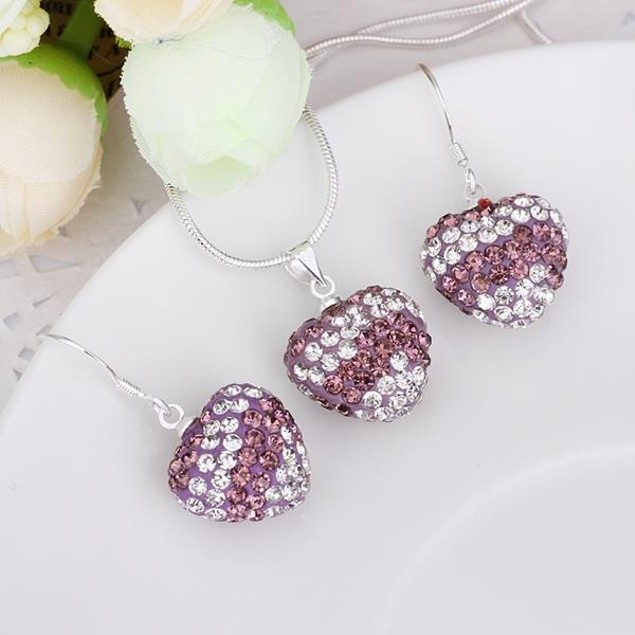 Multi-Pave Heart Drop Earring and Necklace Set - Purple Crystal