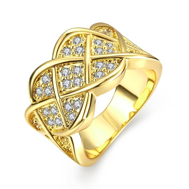 Gold Plated Spiral Curved Modern Ring