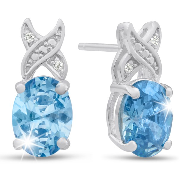 Platinum Plated 3 Carat Oval Shape Blue Topaz and Diamond Earrings