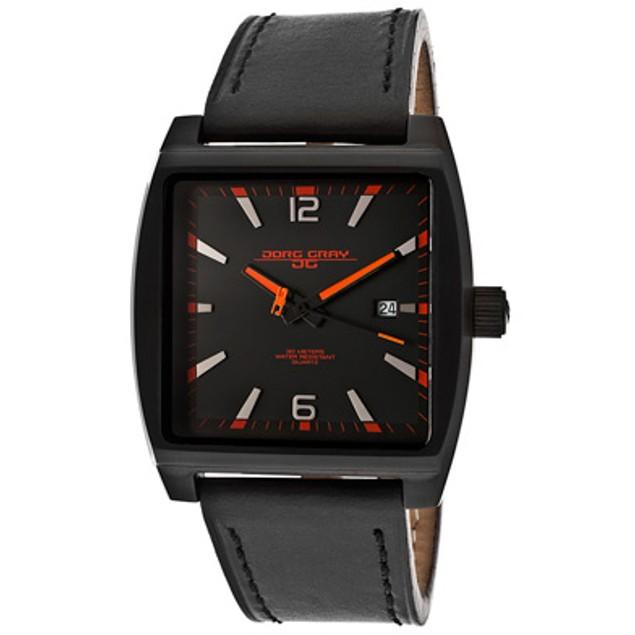 Jorg Gray Men's Black Dial Black Genuine Leather