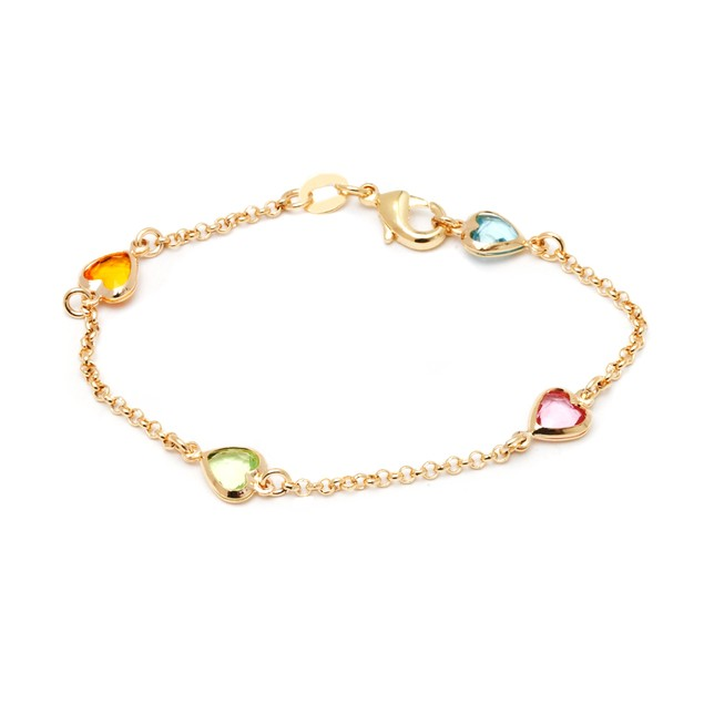 18K Gold & Multi Color Crystal Heart Bracelet