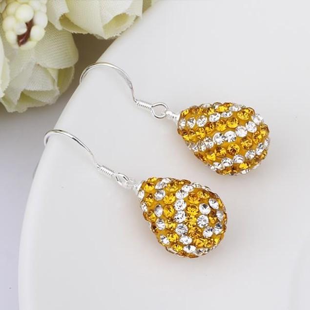 Two Toned Austrian Stone Pear Shaped Drop Earrings - Yellow