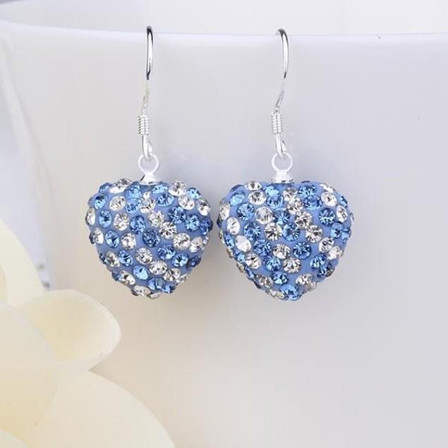 Two Toned Austrian Stone Hearts Drop Earrings -Light Blue