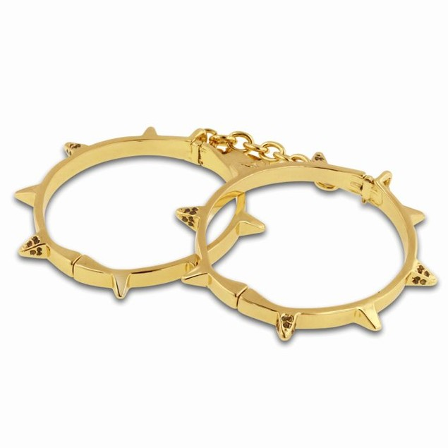 Gold Spike Handcuff Style Bangle