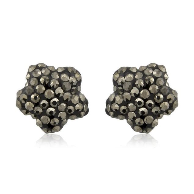 Sterling Silver Sparkling Crystal 10mm Stud Earrings - Flower Grey