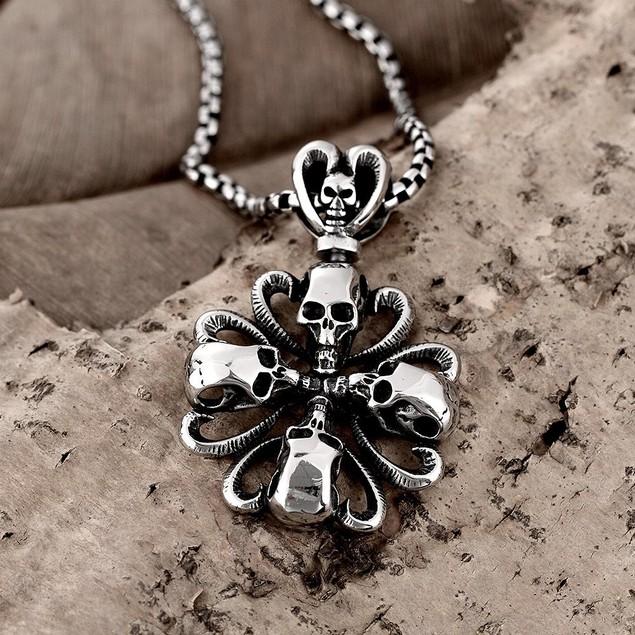 Alpha Steel Rose Petal Skull Emblem Stainless Steel Necklace