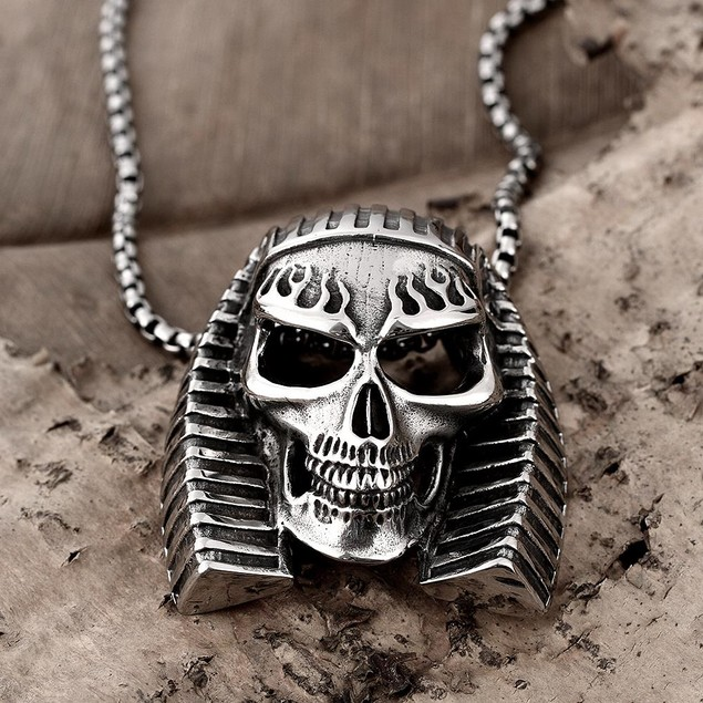 Alpha Steel Pharaoh's Emblem Stainless Steel Necklace