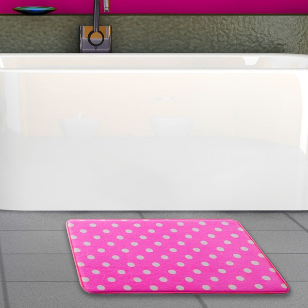 Ultra Plush Polka Dot Memory Foam Non-Slip Bath Mat - Assorted Colors