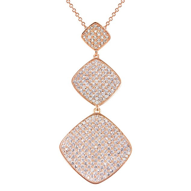 18K Rose Gold Plated Triple Tier Micro Pave Square Necklace