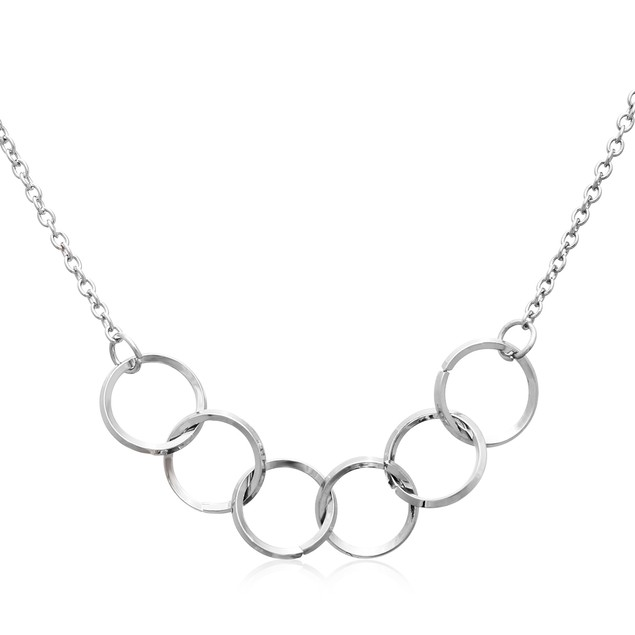 Silver Tone Interlocking Ring Necklace