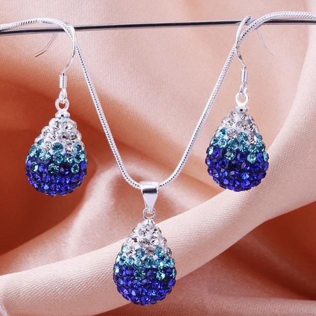 Austrian Stone Multi-Pave Earring and Necklace Set - Blue