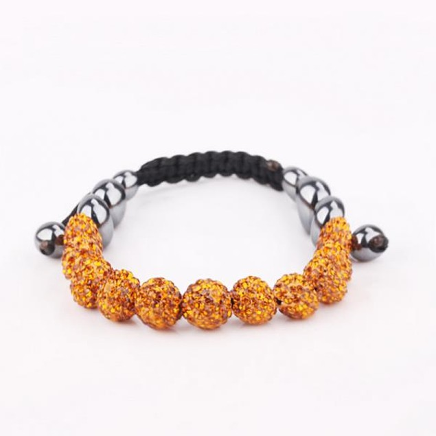 Disco Ball Eleven Beads Austrian Crystal Bracelet - Vivid Orange Citrine