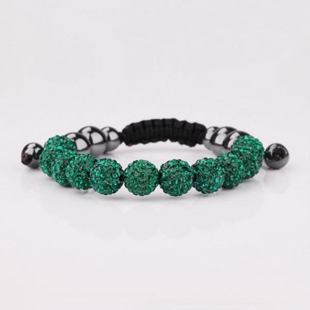 Disco Ball Eleven Beads Austrian Crystal Bracelet - Vivid Dark Emerald