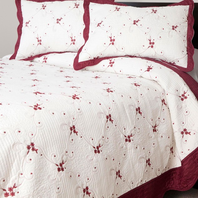 Lavish Home Chloe 3 Pc Embroidered Quilt Set