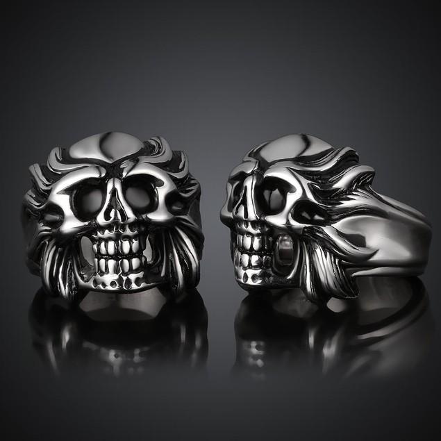 Fire Skull Emblem Stainless Steel Ring