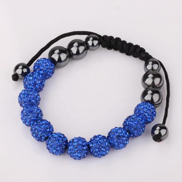 Disco Ball Eleven Beads Austrian Crystal Bracelet - Sapphire