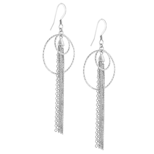 Sterling SIlver Two Circles Strand Earrings