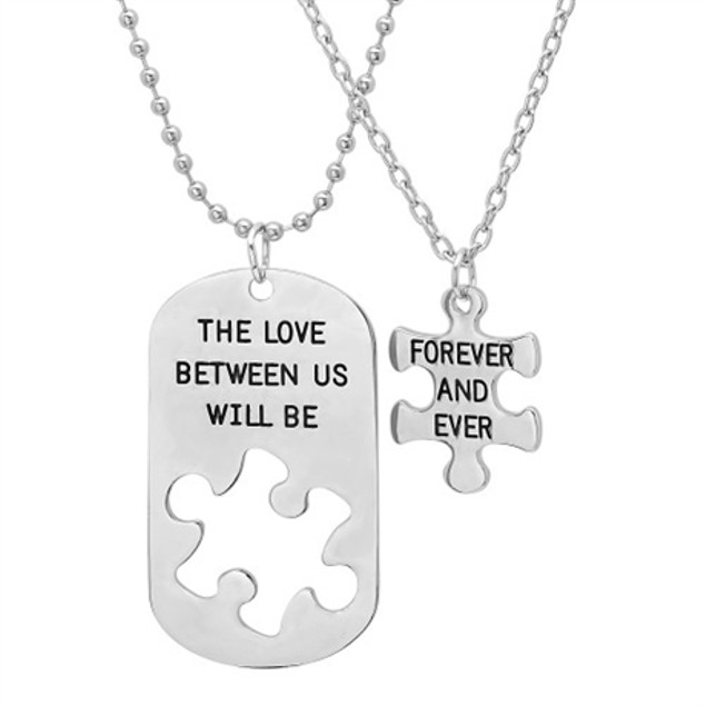 Puzzle Necklace His and Hers - 2 Piece Set