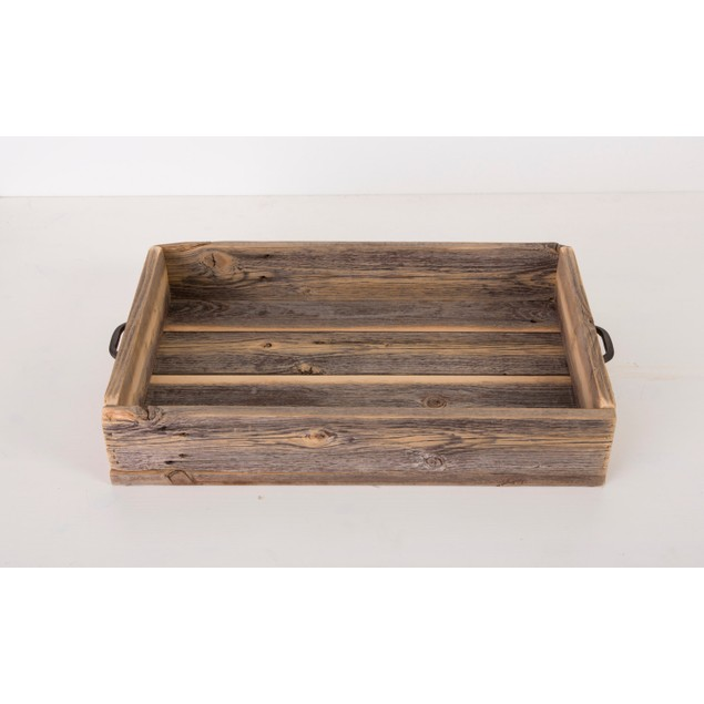 Reclaimed Wood Serving Tray with Metal Handle