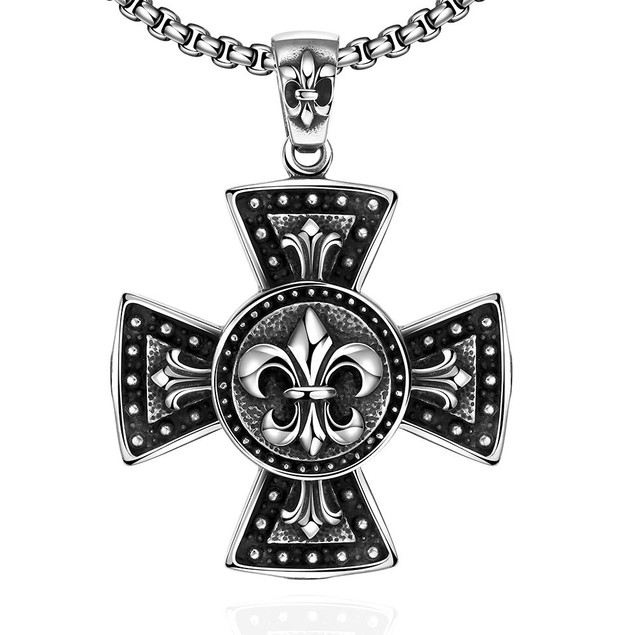 Alpha Steel Thick Cross Stainless Steel Necklace