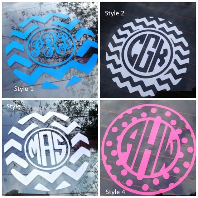 Chevron Monogram Vinyl Decal for Cars or Laptops