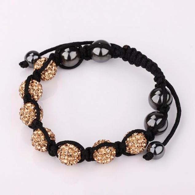80's Glam Six Beads Austrian Crystal Bracelet - Orange