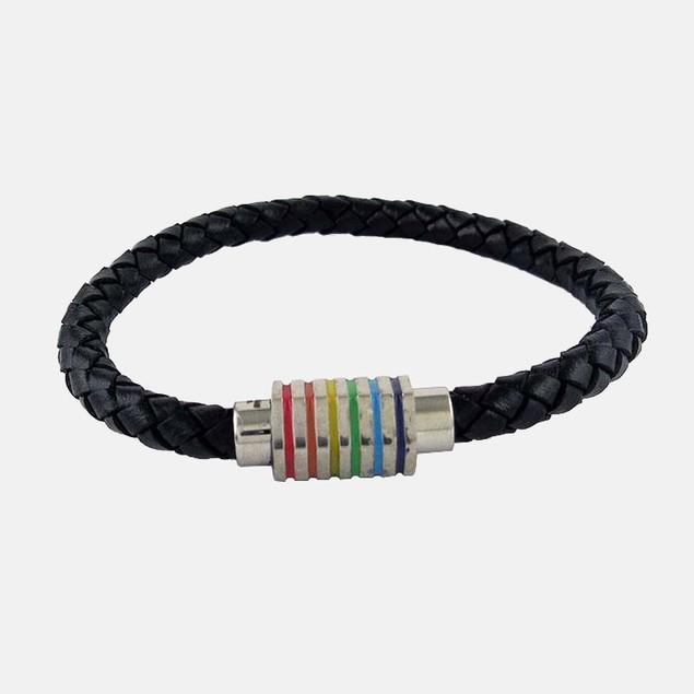 Braided Leather Multi Color Stripe Bracelet