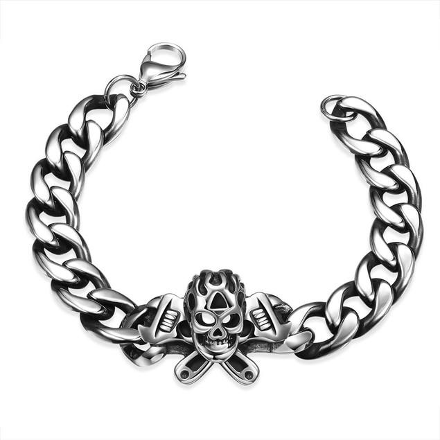 Death Skull Emblem Stainless Steel Bracelet