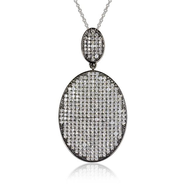 Black IP Plated Imitation Diamond Oval Shaped Pave Necklace
