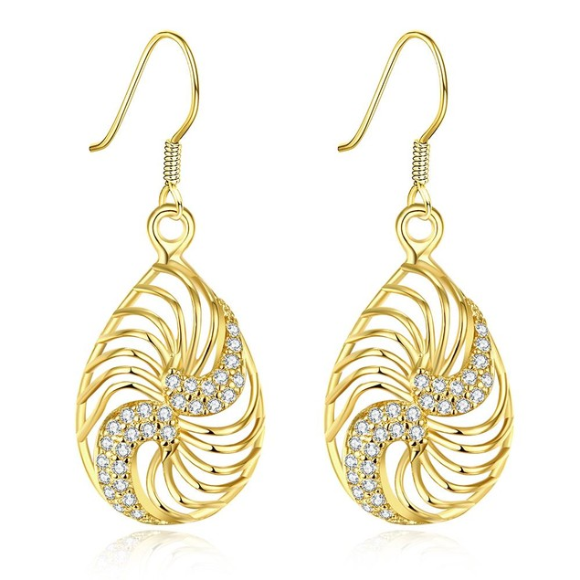 Gold Plated Bling Curves Drop Down Earrings