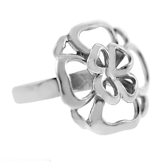 Wide Cut Out Flower Ring