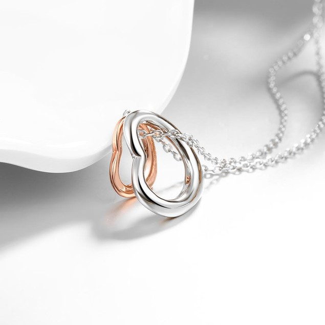 Designer Inspired Rose Gold Plated Interlocking Hearts Necklace