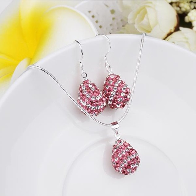 Austrian Stone Multi-Pave Pear Earring and Necklace Set - Swirl Pink
