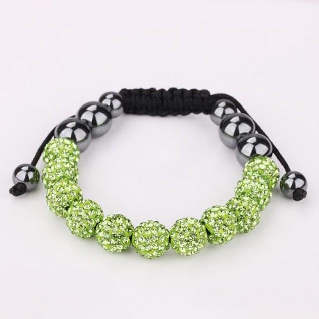 Disco Ball Eleven Beads Austrian Crystal Bracelet - Vibrant Light Emerald