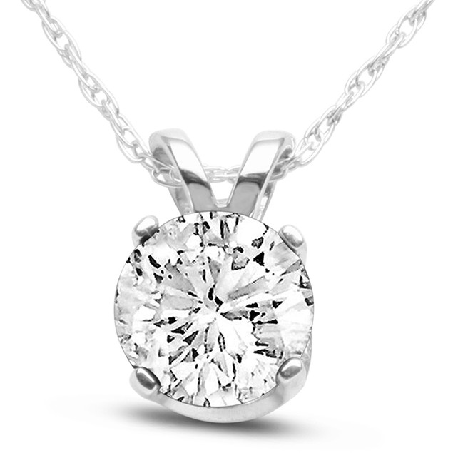 14k White Gold 3/4 Carat Genuine Diamond Solitaire Necklace