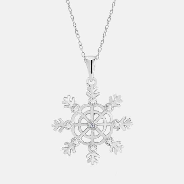 .10 Ct Diamond Ladies Necklace - Snowflake