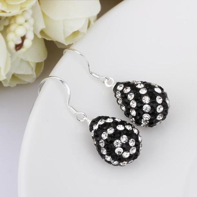 Two Toned Austrian Stone Pear Shaped Drop Earrings -Onyx