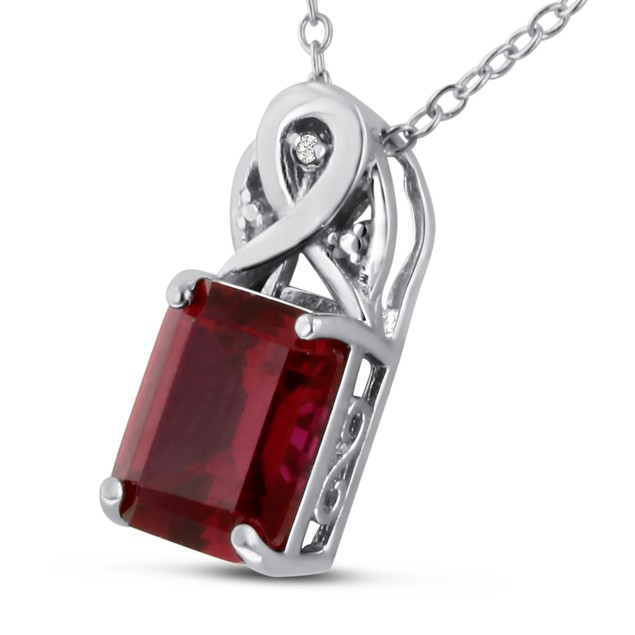 Emerald Shape Created Ruby and Diamond Necklace