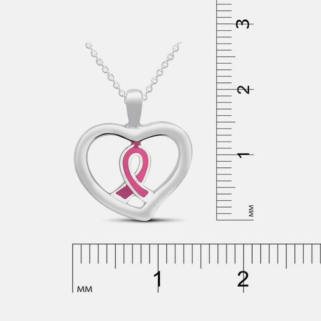 Sterling Silver Heart Ribbon Necklace