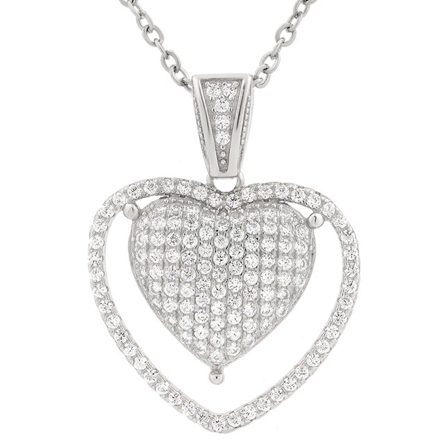 Sterling Silver Simulated Diamond Pronged Heart Pendant