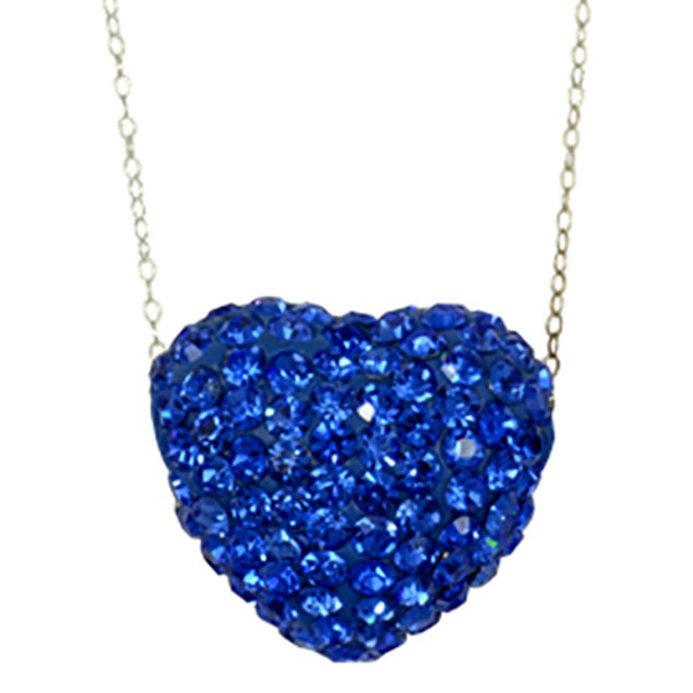 Silver Plated Blue Crystal Heart Pendant