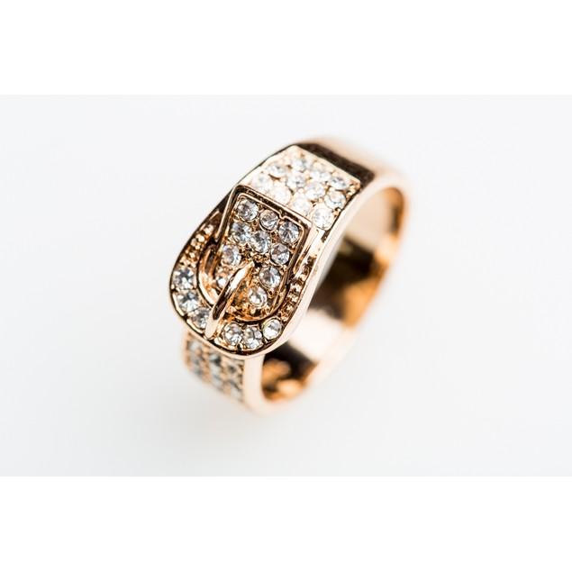 Rose Gold Tone Rhinestone Buckle Ring