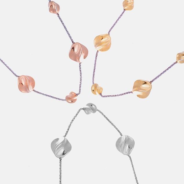 18K Gold Twist Station Necklace