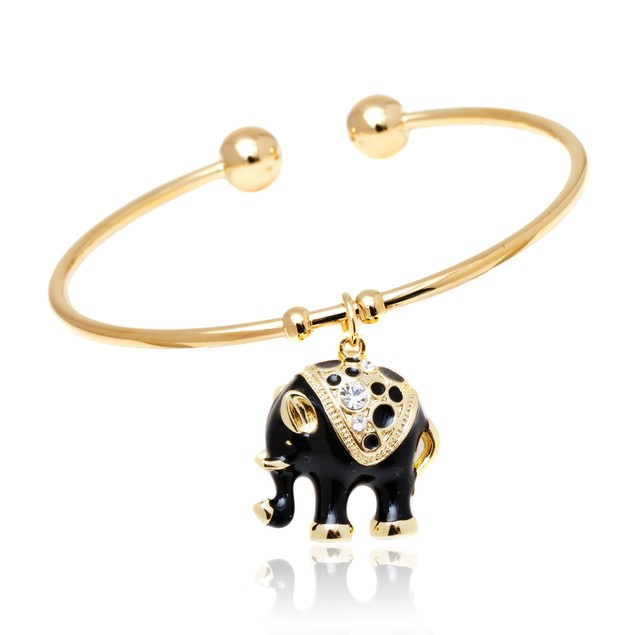 Gold and Black  Enamel Elephant Charm Bangle