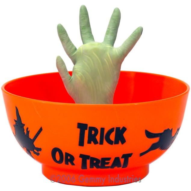 Orange Animated Halloween Candy Bowl-Hand