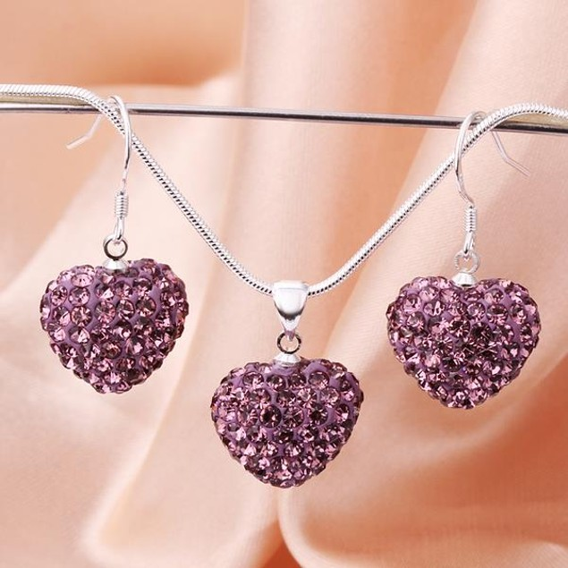 Austrian Stone Solid-Pave Heart Earring and Necklace Set - Solid Purple